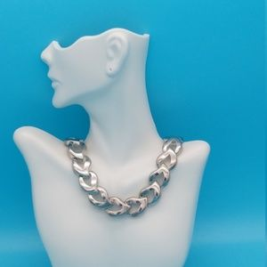 Vintage Silver  80's Hearts Collar Necklace